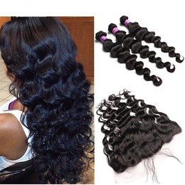 Wholesale Cheap Full Brazilian Weave - Ear To Ear 8A Virgin Brazilian Lace Frontal Closure With Bundles Cheap Curly Loose Wave Human Hair Weave Full Frontals Closure Pieces 13x4