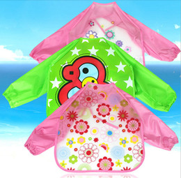Wholesale Toddler Smocks - New Waterproof EVA Baby Toddler Easy Wipe long sleeve apron art smock free wrap Apron Brand New Good Quality