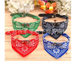 Wholesale Cat Pet Bandana - Cute Dog Cat Collars Pet Puppy Leads Bandana Adjustable Triangle Scarf Pet Collar Neckerchief 4 Size 5 Colours Mix Free Shipping