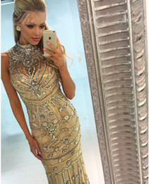Wholesale Pageant Outfits - 2018 Luxury Rhinestones Crystal Champagne Mermaid Prom Dresses High Neck Sleeveless Long Evening Gown Pageant Outfit