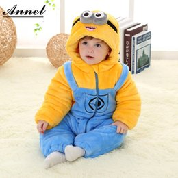 Wholesale Gril Baby - Wholesale-Cute Cartoon Minion baby rompers newborn baby boy gril winter clothes baby christmas clothes winter rompers halloween costumes