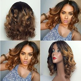 dark roots short wig Promo Codes - Top Quality Dark Roots 1b 30# Ombre Brown Short Curly Wavy Lace Front Wigs Heat Resistant Synthetic Lace Front Wigs for Black Women