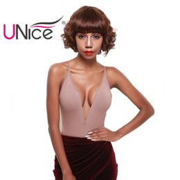 Wholesale Capless Wigs - UNice Hair Brazilian Short Bob Wave Human Hair Wigs For Black Women Virgin Capless Hair Wig Top Malaysian Women Wigs