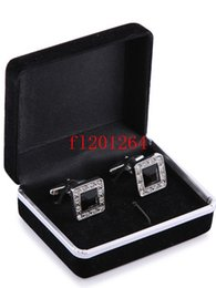 Wholesale Best Sale Ring - 100pcs lot Free Shipping Hot sale Wholesale Promotion Black Velvet Cufflink Box Best gift jewelry box for Cufflinks