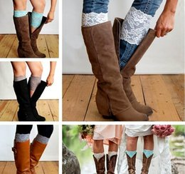 Wholesale Lace Boot Toppers - New Stretch Lace Boot Cuffs 13 Colors High Quality Women Flower Leg Warmers Lace Trim Toppers Socks