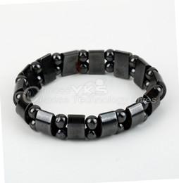 Wholesale Wholesale Magnetic Therapy - Wholesale-2pcs Fashion Unisex Magnetic Hematite Therapy Arthritis Beads Bracelet Black Free   Drop Shipping