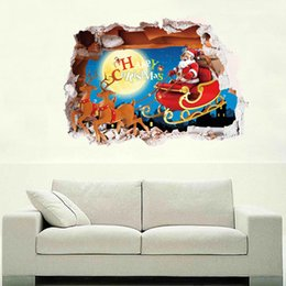 Wholesale Window Sticker Fake - 3053 Christmas PVC Wall Sticker 3D Fake Window Santa Claus Driver Deer Xmas Home Decor Living Kids Room Bedroom Wall Paper