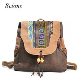 Wholesale Embroidery Mini Dress Design - Brand New Design Women's Hasp PU Flap Backpack Chinese National Style Ethnic Embroidery Vintage Beading Tassels School Backpack