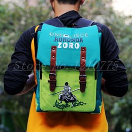 Wholesale One Piece Shoulder Bag - Wholesale-ANIME One Piece Shoulder School Bag Laptop Backpack Blue Oxford Fabric Roronoa Zoro Pirate Cosplay GIFT