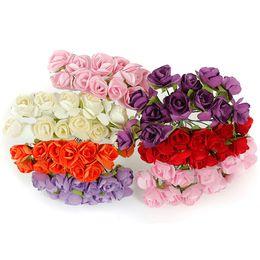 Wholesale Valentine Bouquets - 2015 Valentine Gift 144Pcs Petite Artificial Paper Rose Flower Bouquet Wedding Decor Scrapbooking