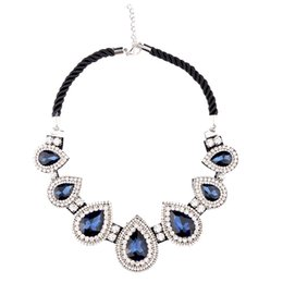 Wholesale Brilliant Solitaire - Brilliant Crystal Diamond Charm Necklaces Fashion Chunky Statement Necklaces with Gemstone Pendants Party Wedding Necklaces for Women NL029