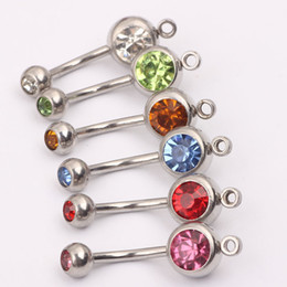 Wholesale Belly Ring Add - Body Jewelry stainless steeel Navel Ring Belly Button Ring Add You Own Charm Accessory