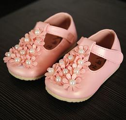 2019 sapatos de bebê sola Sapatos de bebê Primeiro Walker Pérola Flores Princesa Sapatos Para Meninas Da Criança Confortável Sola Macia Muscular Sola Sapatos Infantis 0-4Age K1183 sapatos de bebê sola barato