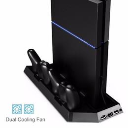 ps4 usb hub Скидка PS4 вертикальная подставка вентилятор охлаждения двойной зарядная станция для контроллеров DualShock с портами USB HUB зарядное устройство