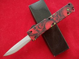 Wholesale Microtech Red - Red Skull handle Microtech Combat troodon Style mini double action knife 440 steel blade satin Plain EDC small survival knife knives.