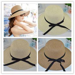 Wholesale Straw Hat Womens Fashion - Beach Hat Sun Hat Beach Hat Hot Womens Sweet Bowknot and Straw Sun Hat Fashion Womens Folding and Portable Hat