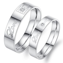 Wholesale Unique Couple - High Quality Womens Unique White Titanium Stainless Steel Rings Love Lock Key Engagement Wedding Bands Crystal Inlay