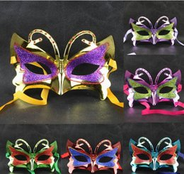 Wholesale Child Butterfly Masquerade Mask - Party venetian Female masks for sale Gold dust masquerade masks butterfly mardi gras masks 6Colour