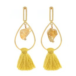 Wholesale Yellow Stone Stud Earrings - Handmade popular tassel earrings series Autumn yellow natural stone pendant geometric splicing tassel earrings jewelry women girls gift