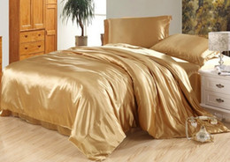 Wholesale Satin Bedding Wholesale - 7pcs Luxury camel tanning silk bedding set satin sheets super king queen full twin size duvet cover bedsheet fitted bed in a bag quilt