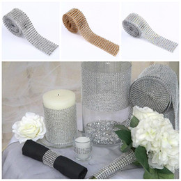 Wholesale Sparkle Trim - 2016 Diamond Mesh Rhinestone Ribbon Crystal Stickers trim Wrap sparkle bling ribbon Wedding Decoration Party Decor E461J