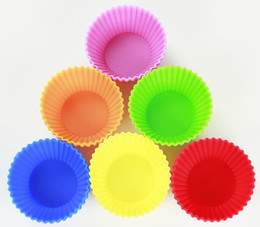 Wholesale Cupcakes Christmas - Free Shipping 12 pcs Round Shape Soft Silicone Cake Muffin Chocolate Cupcake Liner Baking Cup Mold