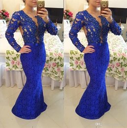 Wholesale Event Carpet - 2017 Royal Blue Lace Mermaid Formal Evening Event Wears Sheer Long Sleeves Plus Size Prom Reception Party Gowns Vestidos De Novia
