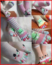 Wholesale Newborn Ankle Socks - NWN Newborn Infant toddler Cartoon Five Fingers Toe Socks Trainer Toe Ankle Socks Frog Smile face Bear Toe Socks 3-12T