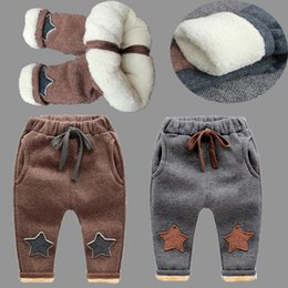 Wholesale Boys Warm Pants - New Baby Pants Thick Winter Baby Child Trousers Star Pants Children Leggings Kids Thick Velvet Pants Boys Warm Trousers