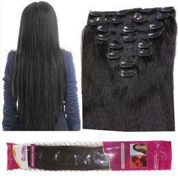 Clip 8A 120 g / lotto in estensioni dei capelli umani brasiliano dritto 8 pz / set 1B capelli ricci ondulati nero naturale da