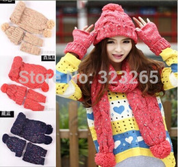 Wholesale Thick Knit Scarf Sets - Wholesale-Variegated wool ball of knitting scarf hat gloves three piece suit, winter girl thick warm scarf set, high-grade fabrics