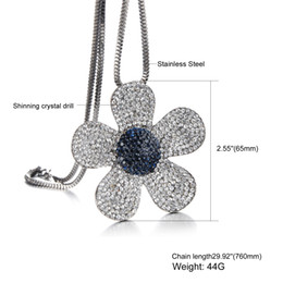 Wholesale Wild Flowers - Stainless Steel Necklace Shinning Crystal Jewelry Necklace Chain Necklace Wild Flowers Fashion Sweater Pendant MY011
