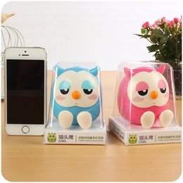 Wholesale Cute Phone Holders - DHL free shipping Plastic cell Mount Stand Holder With Retail package universal cell phone holder Cute owl creative phone holder piggy bank