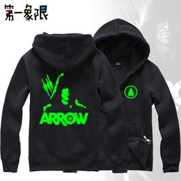 Wholesale Free Program - Wholesale-Free Shipping Arrow TV drama program Oliver Queen fleece hoodies men Luminous Casual loose zipper outerwear Unisex sweatshirt