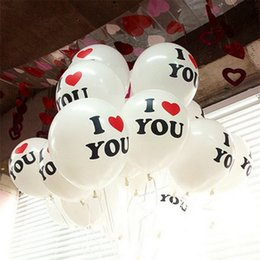 Wholesale Latex Decorative Balloons - I LOVE YOU Balloons 12 inch Round Latex Balloon Decor Birthday Party Valentine's Day Wedding Anniversary Decoration Factory Wholesale