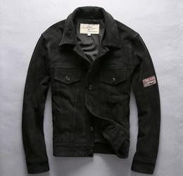 Wholesale Avirex Leather Jacket Xl Men - Suede leather AVIREX FLY Mens Leather jackets Thicker Tidiness Jacket Lapel neck Slim fit Men