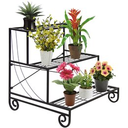 Wholesale Pots Stand - 3 Tier Metal Plant Stand Decorative Planter Holder Flower Pot Shelf Rack Black