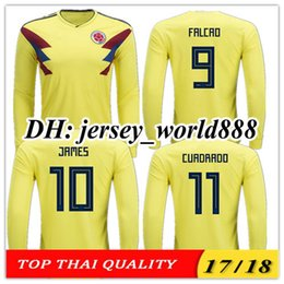 2c967dae249 TOP QUALITY 2018 World Cup Colombia home yellow soccer jersey 17 18 Long  sleeves FALCAO JAMES CUADRADO TEO BACCA away football shirt