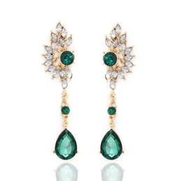 Wholesale Ladies Clothing Crystal - Green Earring Ladies Symmetry Crystal Rhinestone Dangle Studs Alloy Pendant Earrings Wedding Dating Clothing Accessories