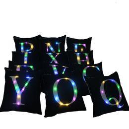 Wholesale Sofa Light - 2017 Letter Pillow Case 40*40cm LED Light Pillows Cushion Cover Light Up Pillowcase Car Home Sofa Decoration