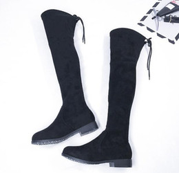 Wholesale White Flat Thigh High Boots - Thigh High Boots Female Winter Boots Women Over the Knee Boots Flat Stretch Sexy Fashion Shoes 2017 Black Shoes
