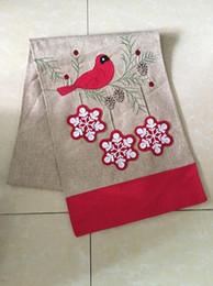 """Украшения из красной птицы онлайн-13""""x72"""" рождественские снежинки красные птицы бегун стол для европейского американского стиля украшения кухни рождественские украшения"""