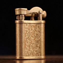 Wholesale Travel Car Table - Vintage Cigarette kerosene Lighter Table Handmade Retro Metal Brass Lighter
