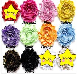 Wholesale Fabric Flower Trimmings - 100pcs lot,Shiny Metallic Chiffon Rose Trim ,shabby flowers,fabric rose flower for baby headbands hair accessories