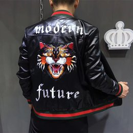 Wholesale Small Black Jacket - Hot sale Autumn and winter tide brand new Tiger head embroidery men's self-cultivation cardigan zipper zipper leather jacket
