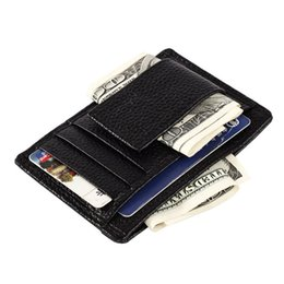 Wholesale free card making - Wholesale- One Piece Wallet Simply Make It Easy  Holders Black Leather Purse Top Quality Free Shipping