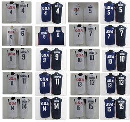 Wholesale Paul George Jersey - 2016 Dream Team Twelve 7 Kyle Lowry 5 Kevin Durant USA Jersey 8 Harrison Barnes 9 DeMar DeRozan 11 Klay Thompson 15 Anthony 13 Paul George