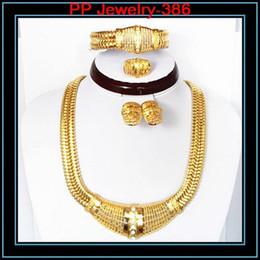 Wholesale Women 24k Gold Ring - Good Quality Guarantee 24K Gold Filled Luxury Jewelry Sets Wedding Bridal Necklace Earrings Bracelet Ring Women Jewellry Sets 386