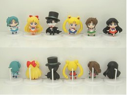 Wholesale Mercury Mars - Free Shipping New 6PCS Sailor Moon Mercury Mars Jupiter Venus Tuxedo Mask Figure fors Kids best Christmas gift approx 5cm
