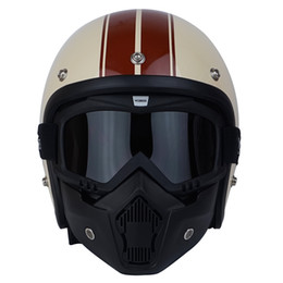 Wholesale Vespa Scooter Helmets - Vcoros with detachable mask men 3 4 vintage moto helmet classic harley goggles scooter retro vespa open face motocycle helmets